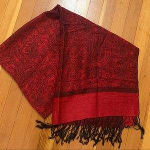 Pashmina + Silk Red Scarf